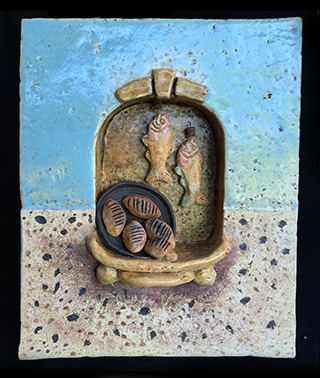 ceramic wall hanging with loaves and fish entitled Miracle Food