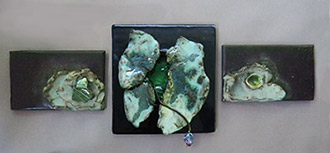 ceramic sculpture wall hanging with melted glass