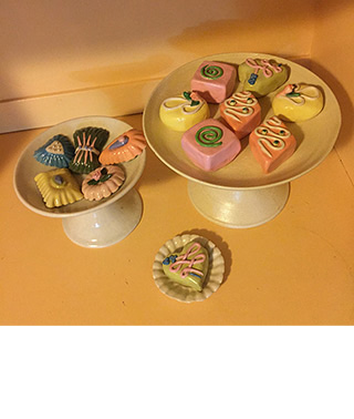 ceramic mini sculptures of marzipan and petits-fours